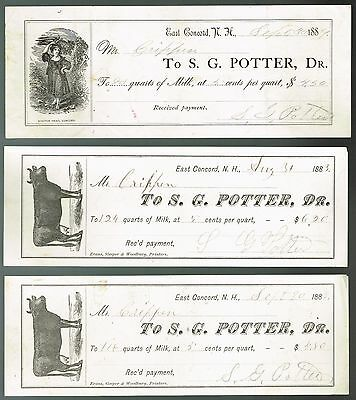 """""""S. G. Potter"""" East Concord NH Invoices for Milk Purchase Illustrated 3 Diff."""