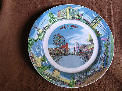 1950s Las Vegas Nevada Souvenir Pottery Plate/Fremont Street/Early Casinos