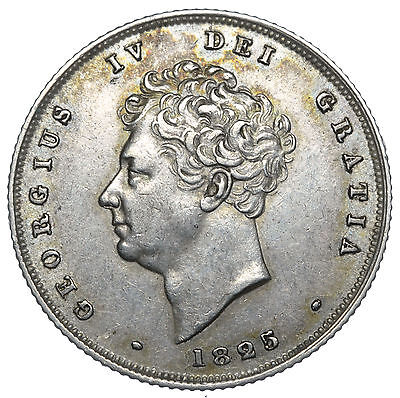 1825 Shilling - George Iv British Silver Coin - V Nice