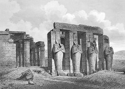 EGYPT Ruins of Temples at Thebes - 1860 SCARCE Engraving Print