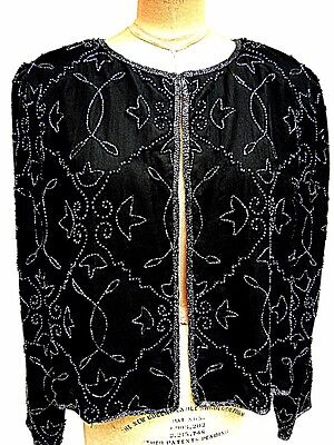 JMD New York Beaded Black Silk Chiffon Short Jewel Neck Box Bolero Jacket X/ L