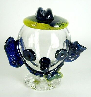 Dekoratives Glas Objekt Kopf / Clown Handarbeit Murano? Glass Object Head RARE