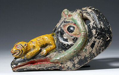 ARTEMIS GALLERY Colorful Mexican Carved Wood Animal/Human Mask