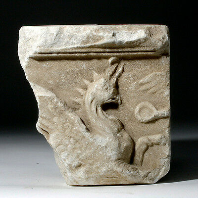 ARTEMIS GALLERY Lovely Roman Marble Fragment of Sarcophagus w/ Griffin