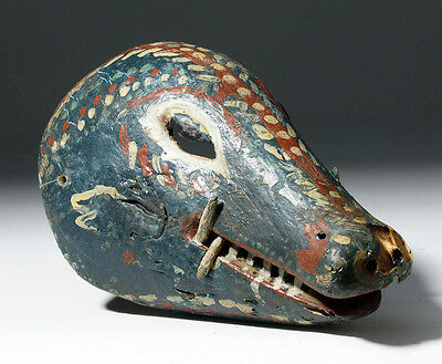 ARTEMIS GALLERY Mexican Carved Wood Festival Mask - Colorful Lizard