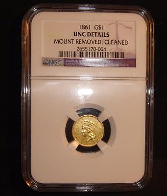 1861 $1 Indian Head Princess Gold Coin One Dollar MEDALLIC ALIGNMENT ERROR NGC!