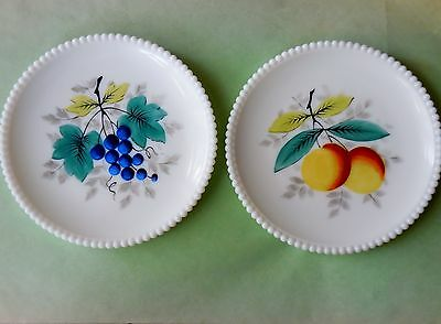 White Milk Glass Beaded Edge Salad Plates (2) Peach & Grapes - Westmoreland