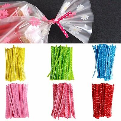 """100pcs 4"""" Twist Ties for Wedding Party Bakery Cookies Candy Cello Bags 10CM"""