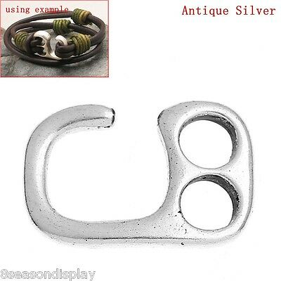 20PCs Hook Clasps Findings For Leather Bracelet Findings Antique Silver