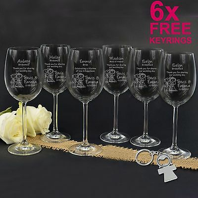 6x Personalised Favours Bride and Bridesmaid Wine Glasses - Wedding Bridal Party
