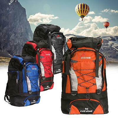 New 80L Waterproof Rucksack Backpack Bag For Camping Hiking Travel Sport Outdoor