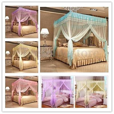 Four Corner Curtain Bed Mosquito Net Canopy Netting Princess Bedding All Types