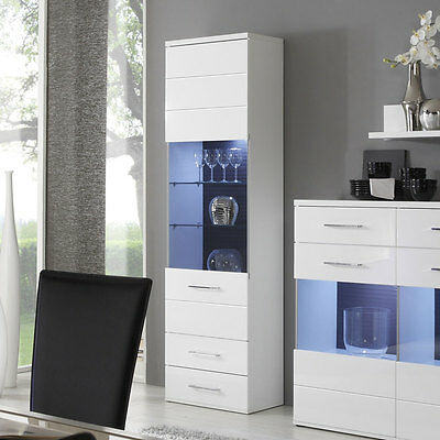 vitrine wave glasvitrine schrank wohnzimmer wei hochglanz eiche grau mit led eur 269 95. Black Bedroom Furniture Sets. Home Design Ideas