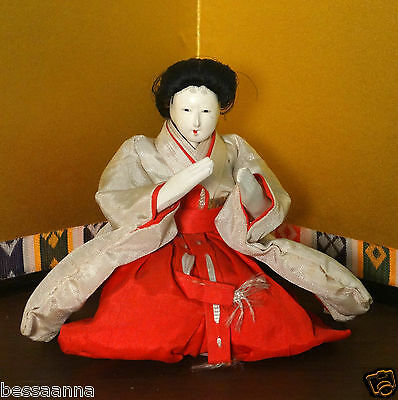 Antique Gofun Asian Japanese Young Lady In Waiting Meiji Hina Doll DA4161412ii