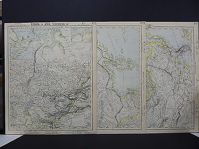 Antique Map, Lett's, 1883 Russia in Asia, China, Turkey