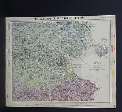 Antique Map, Lett's, 1883 #4 Geological Map of the Environs of Dublin