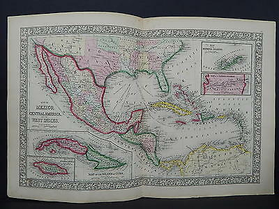 Antique Map, Mitchell, 1865 Mexico, Central America, Cuba, & others M8#03