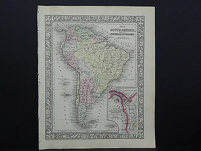 Antique Map, Mitchell, 1865 South America M8#08