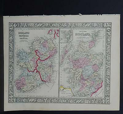 Antique Map, Mitchell, 1865 Ireland, Scotland M8#15