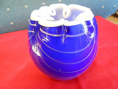 Beautiful Cobalt and White Studio/Handcrafted ART GLASS Vase................SALE