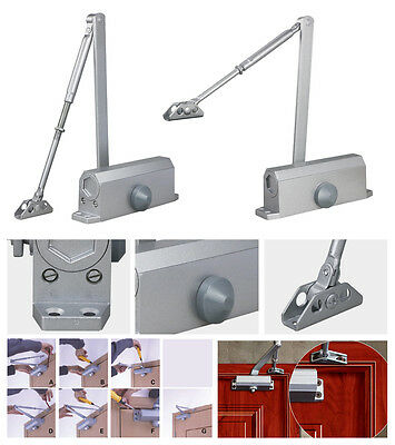 65-85KG Silver Aluminum Commercial Door Closer Two Independent Valves New US