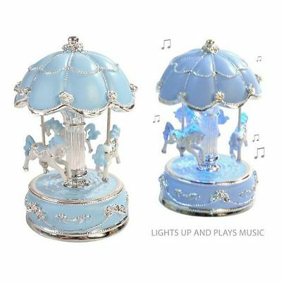 Child Baby Boy New Baby Light Up  Musical Horse Carousel Christening Birth