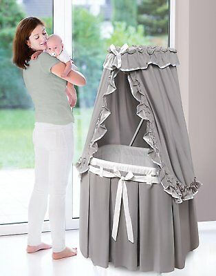 Badger Basket 30063 Majesty Baby Bassinet with Canopy Gray and White Bedding New