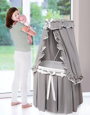 Badger Basket Majesty Baby Bassinet w/Canopy - Gray & White Bedding 30063 NEW