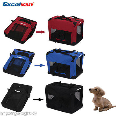 Folding Dog Puppy Cat Pet Travel Carrier Cage Crate Kennel Bag Soft Fabric M / L