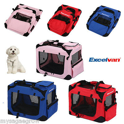 NEW Fabric Folding Dog Puppy Cat Pet Travel Carrier Cage Crate Kennel Bag w/ Pad