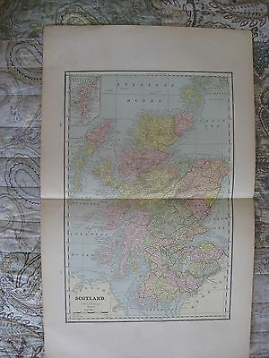 Large Superb Antique 1880 Scotland Railroad Map Shetland Islands Europe Khartoum