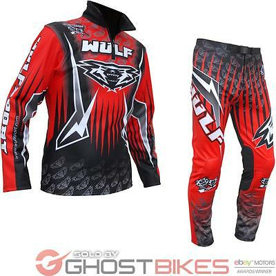 Wulf Arena Adult Red Trials Kit Wulfsport Motocross Off Road Top & Pants Bundle