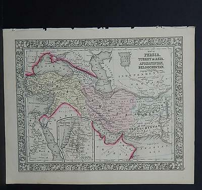Antique Map, Mitchell, 1865, Persia, Turkey, Afghanistan, and more M8#17