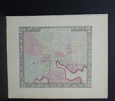 Antique Map, Mitchell, 1865, City of Baltimore, Maryland M8#29