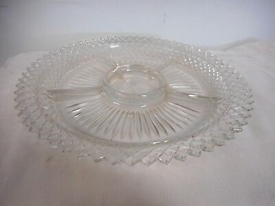 Vintage Anchor Hocking Miss America Clear Glass Divided Relish Dish Tray Server