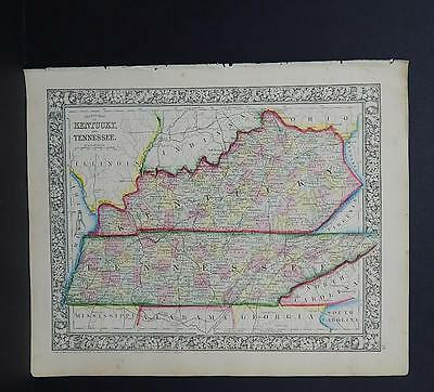 Antique Map, Mitchell, 1865, Kentucky, Tennessee M8#38