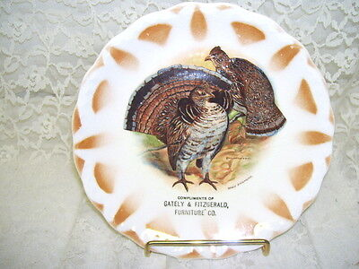 Antique Quail Advertising Plate Gately & Fitzgerald Furniture Co Edwin Megargee