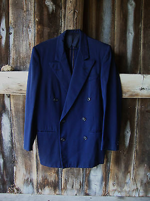 "Vintage 30's-40's Navy Blue Wool Gabardine Double Breasted Jacket * 44"" Chest"