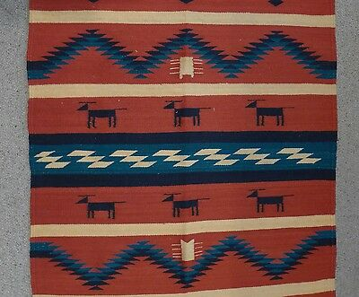 """Large older hand woven Mexican Oaxacan wool rug 42"""" x 76"""""""