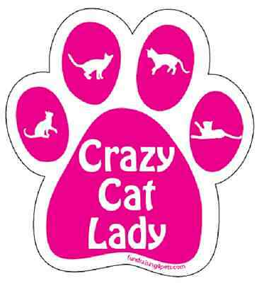 "Crazy Cat Lady Paw With Cats Car Fridge 5.5"" Plastic Magnet Kitten Pink Gift"