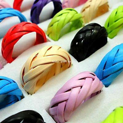 100pcs Fashion Manual Braided Rings Wholesale Lots bulk Jewelry Mix Color BFP