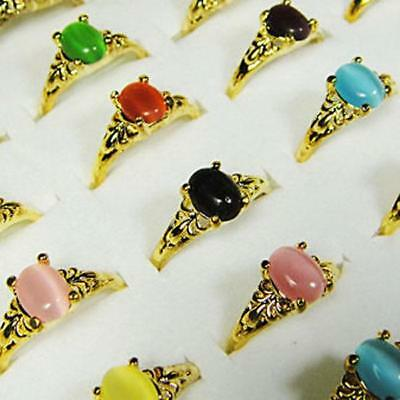 15pcs Color Opal Gold Plated Alloy Rings Wholesale Jewelry Mix Size Free Ship BF