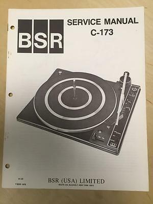 BSR Service & User Manual for the C-173 Turntable Record Changer