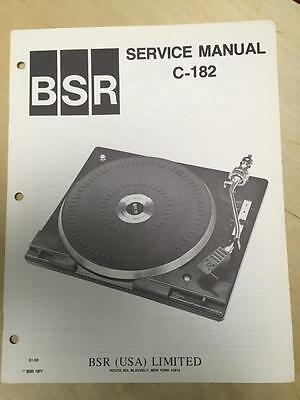 BSR Service /& User Manual for the C136 C136R Turntable Record Changer