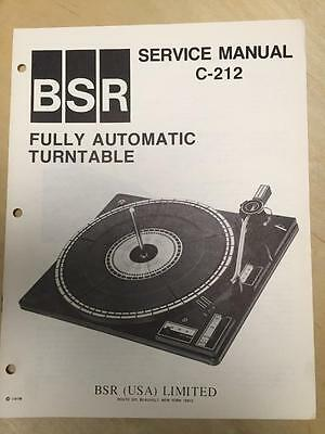 BSR Service & User Manual for the C-212 Turntable Record Changer