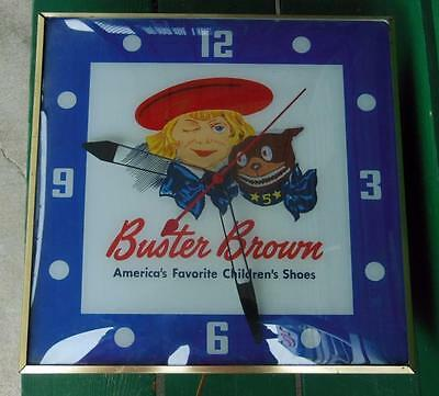 Original 1940's Buster Brown Shoes Store Shop Lighted Pam Clock Advertising Sign