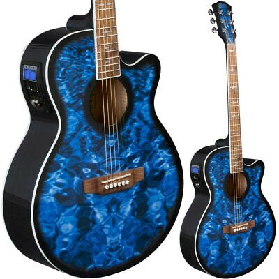 Lindo Shark Electric / Electro Acoustic Guitar w/ Preamp + Padded Gig Bag - Blue