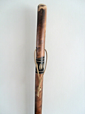 Rustic Shepherd Walking Stick Large Farmers Canes Flamed Carved Wood Shaft 46""