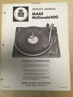 BSR Service & User Manual for the MA65 Turntable Record Changer McDonald 400