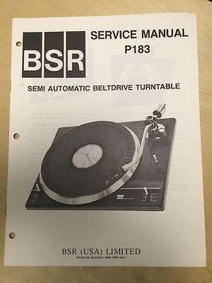 BSR Service & User Manual for the P183 Turntable Record Changer